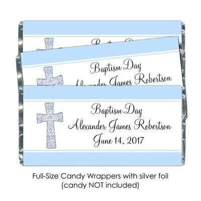 Blue Baptism or Christening Candy Wrappers