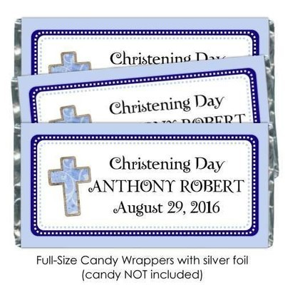 Blue Christening Candy Wrappers with Cross