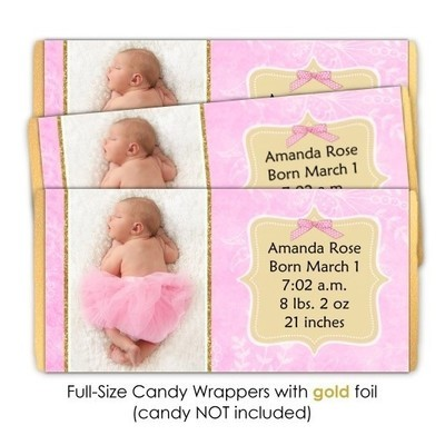 Pink and Gold Birth Announcement Candy Wrappers