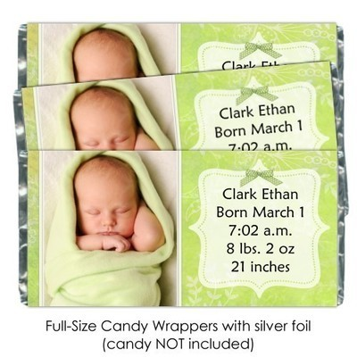 Green Floral Birth Announcement Candy Wrappers