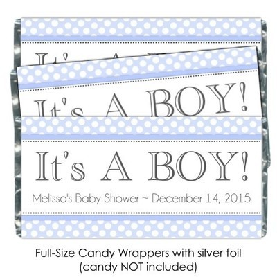It's A Boy Polka Dot Candy Wrappers