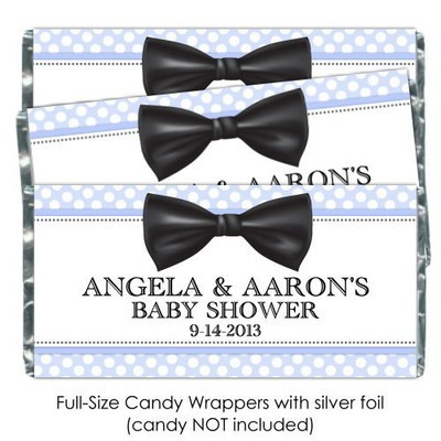 Blue Polka Dot with Bow Tie Baby Shower Candy Wrappers