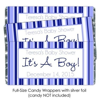 It's A Boy Blue Striped Baby Shower Candy Wrappers