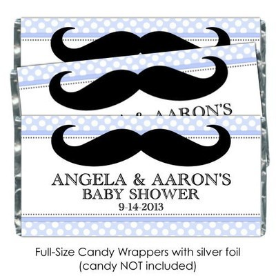Blue Polka Dot with Mustache Baby Shower Candy Wrappers