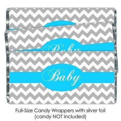 Gray Chevron with Bright Blue Baby Shower Candy Wrappers