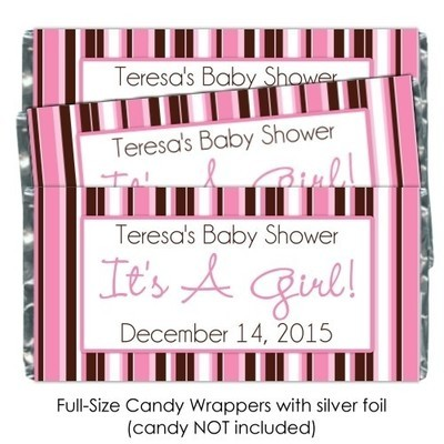 It's A Girl Pink Stripe Baby Shower Candy Wrappers
