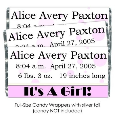 Pink Polka Dot It's A Girl Baby Candy Wrappers