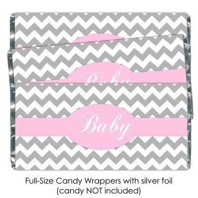 Gray Chevron with Pink Baby Shower Candy Wrappers