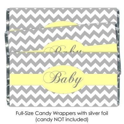 Gray Chevron with Yellow Baby Shower Candy Wrappers