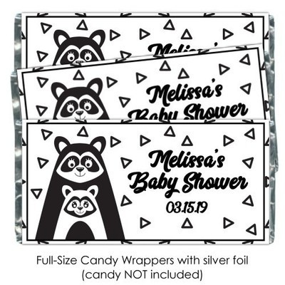 Black and White Mama Racoon Baby Shower Candy Wrappers