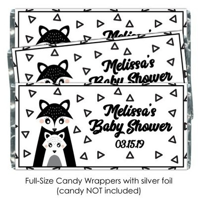 Black and White Mama Fox Baby Shower Candy Wrappers