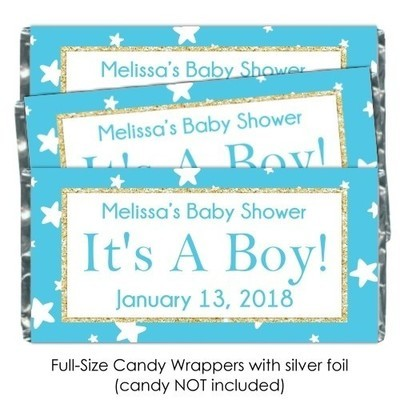 Teal Stars It's A Boy Baby Shower Candy Wrappers