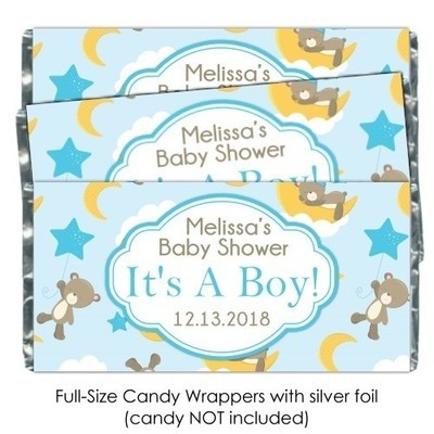 Teddy Bears, Stars and Moon Baby Shower Candy Wrappers