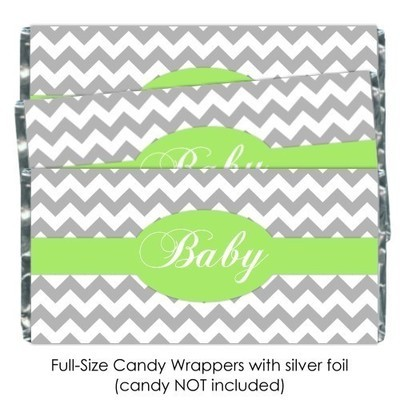 Gray Chevron with Green Baby Shower Candy Wrappers