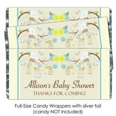 Green and Yellow Birdcage Baby Shower Candy Wrappers