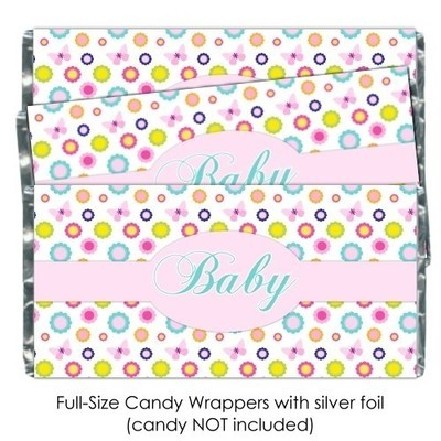 Floral Butterfly Baby Shower Candy Wrappers
