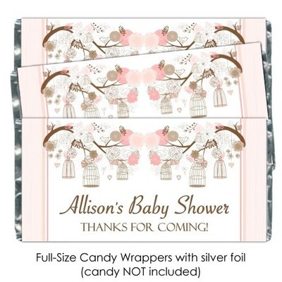 Peach Birdcage Baby Shower Candy Wrappers