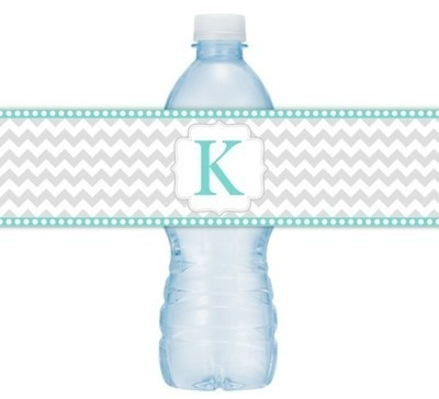 Gray and Teal Chevron Monogram Water Bottle Labels