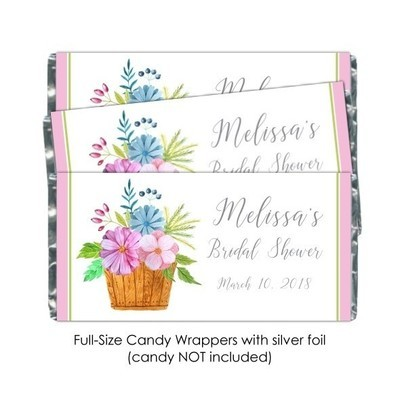 Watercolor Basket Wedding Candy Wrappers