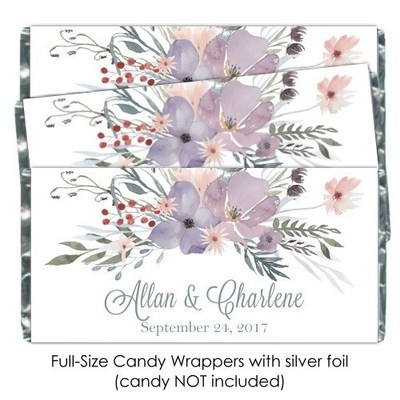 Purple Watercolor Wedding Candy Wrappers