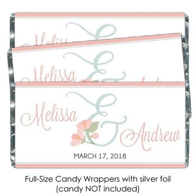 Floral Ampersand Wedding Candy Wrapper Favors