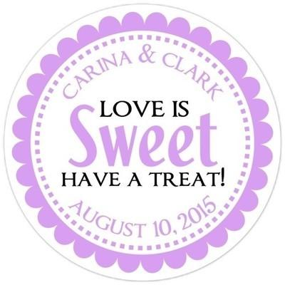 Love is Sweet Purple Stickers