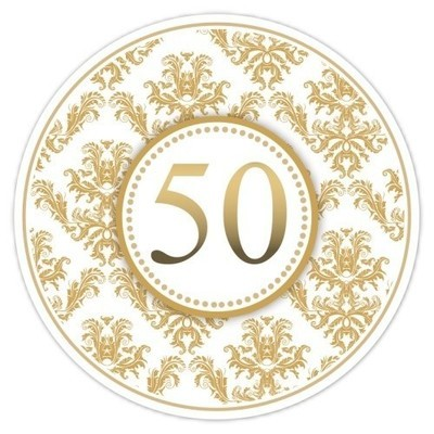 50th Anniversary Gold Damask Stickers