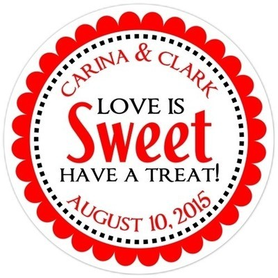Love is Sweet Red Stickers