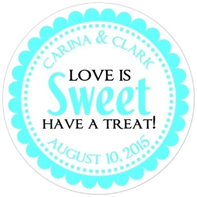 Love is Sweet Teal Stickers