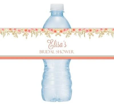 Gold Floral Wedding Water Bottle Labels