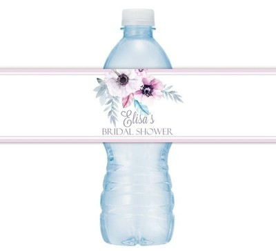 Floral and Feather Wedding Water Bottle Labels