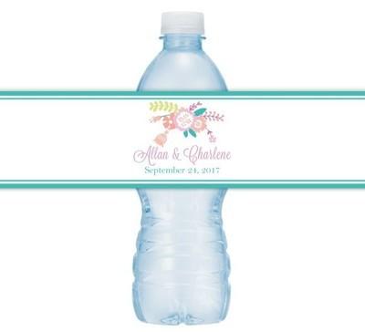 Pastel Floral Wedding Water Bottle Labels