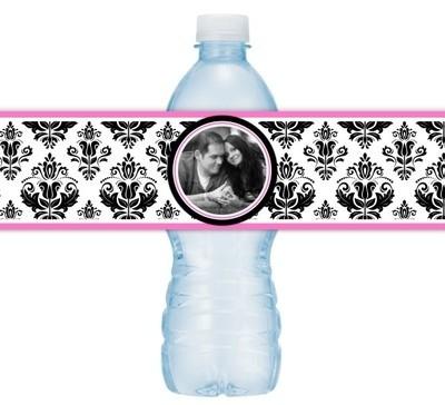 Black and Pink Damask Wedding Water Bottle Labels