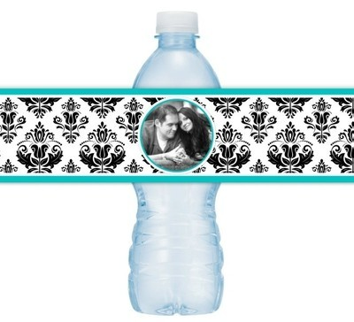 Damask Photo Wedding Water Bottle Labels