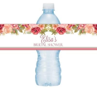 Rose Gold Floral Wedding Water Bottle Labels