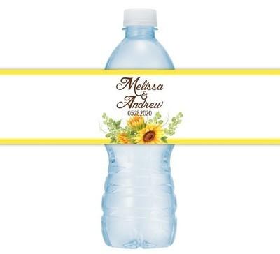 Sunflower Wedding Water Bottle Labels