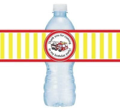 Fire Truck Birthday Water Bottle Labels