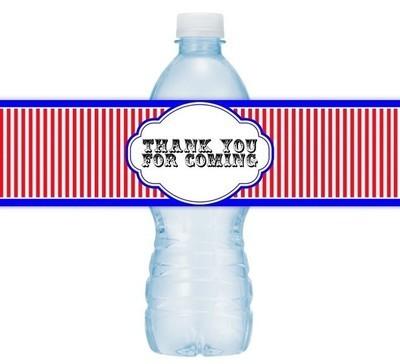 Carnival Circus Themed Thank You Water Bottle Labels