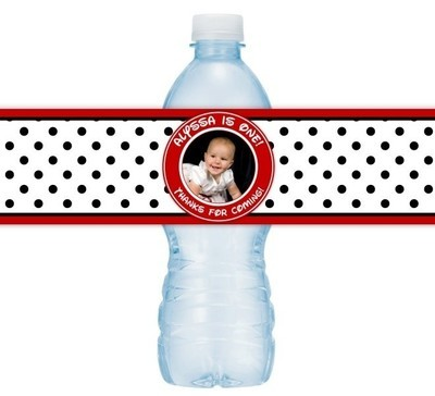 Red and Black Polka Dot 1st Birthday Water Bottle Labels