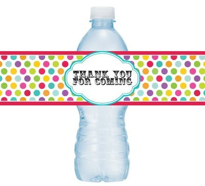 Polka Dot Circus or Carnival Birthday Water Bottle Labels