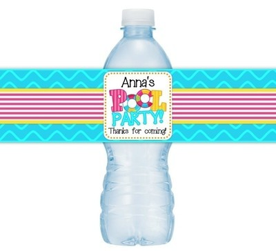 Pool Party Birthday Water Bottle Labels