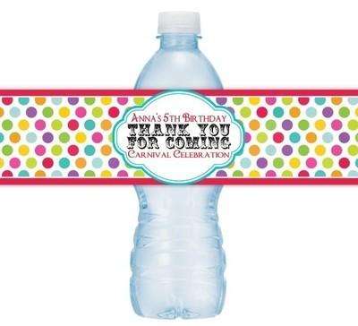Custom Carnival Water Bottle Labels