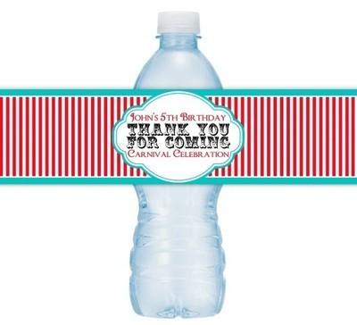 Custom Carnival Red Stripe Water Bottle Labels