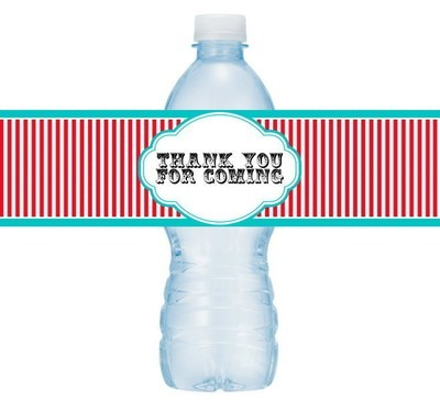 Carnival Circus Theme Thank You Water Bottle Labels