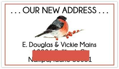 Custom Bull Finch Address Labels / Business Cards