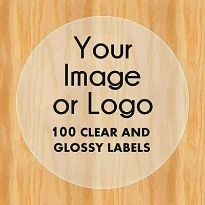 100 Custom CLEAR and GLOSSY Logo Labels - 2 inch round