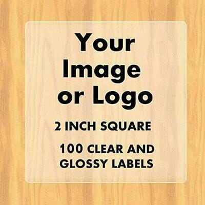 100 Custom GLOSSY Logo Labels - 2 inch square