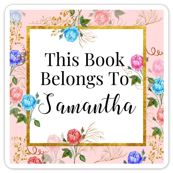 Book Belongs to Stickers - Square Pink Watercolor Floral Design