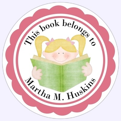 Book Belongs to Stickers - Blond Hair Pigtails