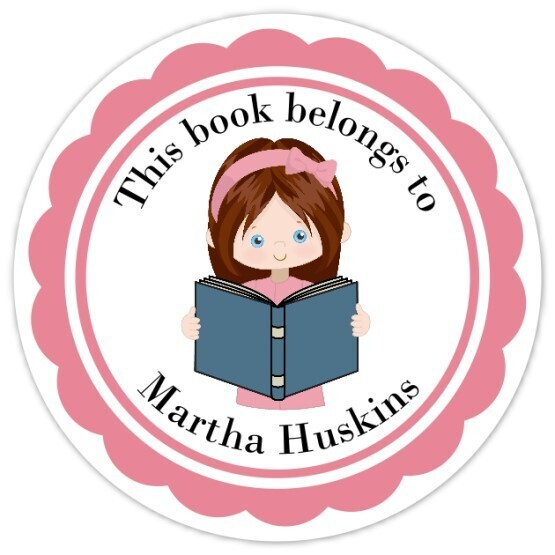 Book Belongs to Stickers - Brown Hair with Ribbon